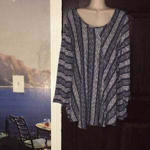 NWT Notations Slate Blue & White Sweater Blouse 3X